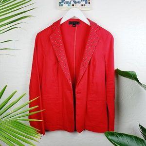 Rock&Republic   Scarlet Red Stud Linen Blazer
